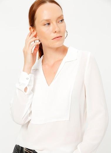 Fabrika Comfort Fabrika Comfort Gömlek Yaka Düz Beyaz Bluz Beyaz